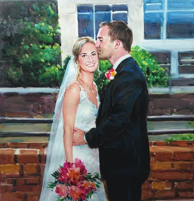 A painting of flower, bride, photograph, woman, flower bouquet, flower arranging, gown, wedding, pink, formal wear