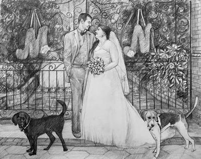 A painting of photograph, gown, bride, wedding dress, dress, wedding, ceremony, bridal clothing, groom, event