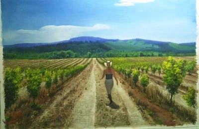 A painting of agriculture, vineyard, soil, crop, sky, rural area, tree, plantation, field