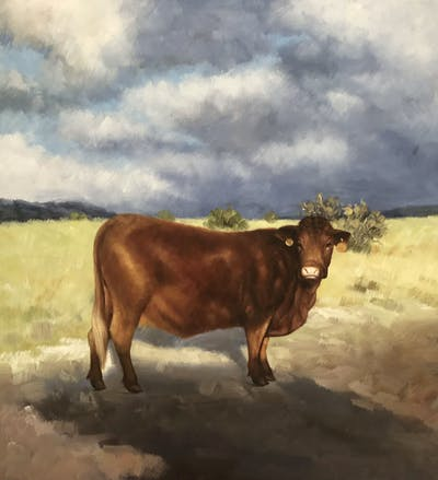 A painting of cattle like mammal, sky, highland, horn, cow goat family, ox, snout, texas longhorn, ecoregion, bull
