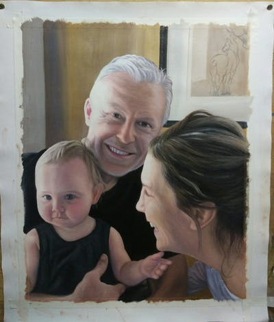 A painting of people, person, family, father, smile, fun, child, grandparent, daughter, ear