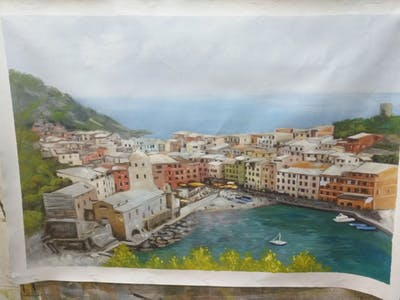 A painting of city, waterway, town, sea, coast, sky, tourism, promontory, bay, village