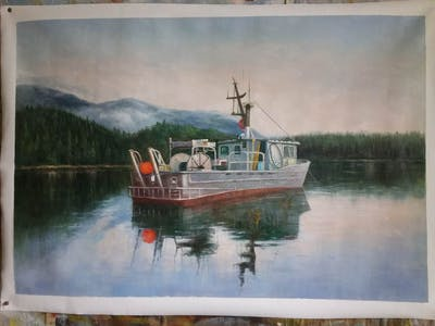 A painting of waterway, water transportation, loch, boat, watercraft, fishing vessel, lake district, reflection, tree, ship
