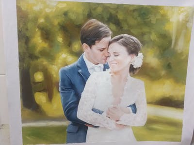 A painting of photograph, bride, bridal clothing, wedding dress, wedding, gown, groom, ceremony, groom, formal wear