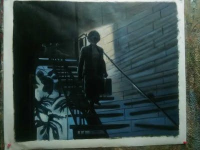 A painting of black, darkness, light, snapshot, phenomenon, night, performance art, sky, midnight, film