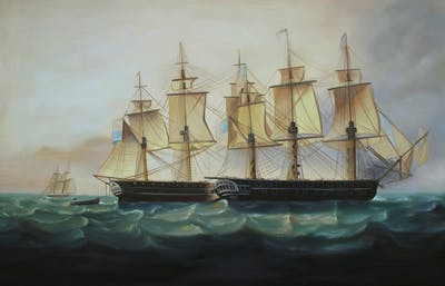 A painting of sailing ship, flagship, ship, east indiaman, man of war, barque, full rigged ship, brig, manila galleon, fluyt