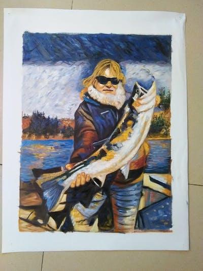 A painting of fishing, bass, water, cod, salmon, fun, sky, jigging, fisherman, barramundi
