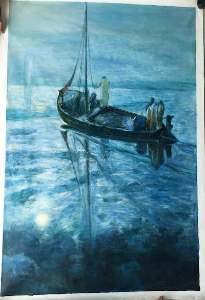 A painting of sea, shipwreck, water, ocean, calm, boat, underwater, painting, fishing vessel, marine biology