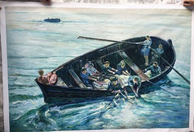 A painting of water transportation, boat, watercraft rowing, watercraft, water resources, boats and boating equipment and supplies, painting, boating, water, shipwreck