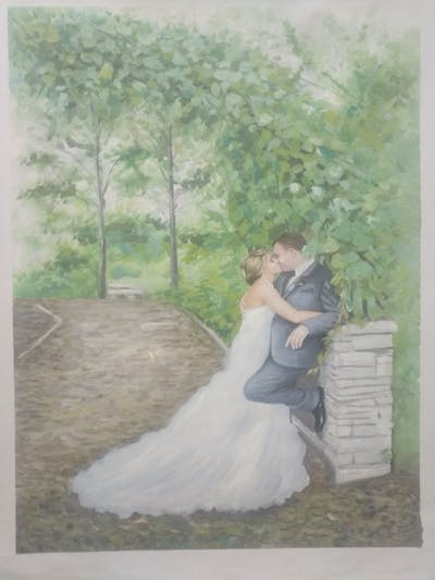 A painting of photograph, bride, gown, woodland, wedding dress, wedding, dress, flower, male, garden