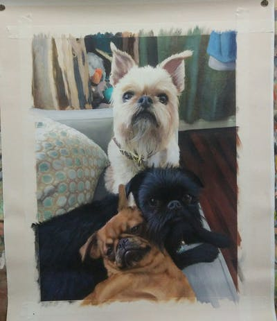 A painting of dog, dog breed, dog like mammal, dog breed group, pug, snout, griffon bruxellois, carnivoran, dog crossbreeds, companion dog