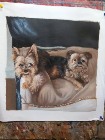 A painting of dog, dog like mammal, dog breed, yorkshire terrier, terrier, small terrier, carnivoran, morkie, dog crossbreeds, snout