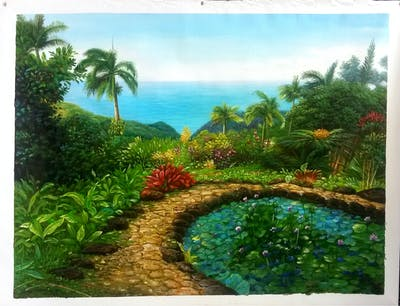 A painting of vegetation, botanical garden, nature reserve, tropics, flora, plant, tree, arecales, sky, jungle