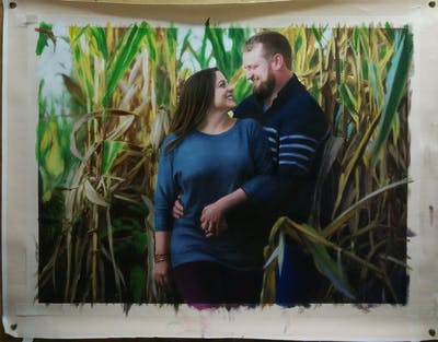 A painting of photograph, grass, photography, emotion, grass family, interaction, tree, ceremony, girl, jungle