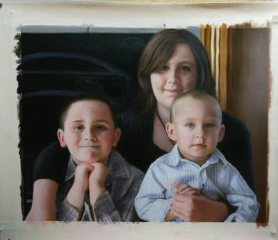 A painting of people, day, child, sitting, family, sibling, toddler, mother, product, father