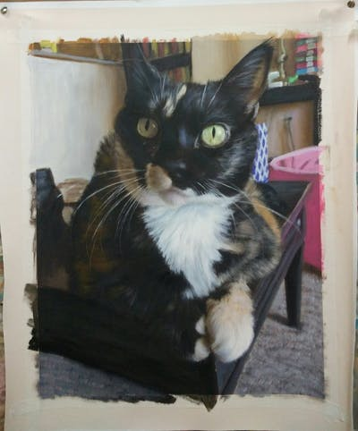 A painting of cat, small to medium sized cats, whiskers, cat like mammal, domestic short haired cat, fur, kitten, paw, european shorthair