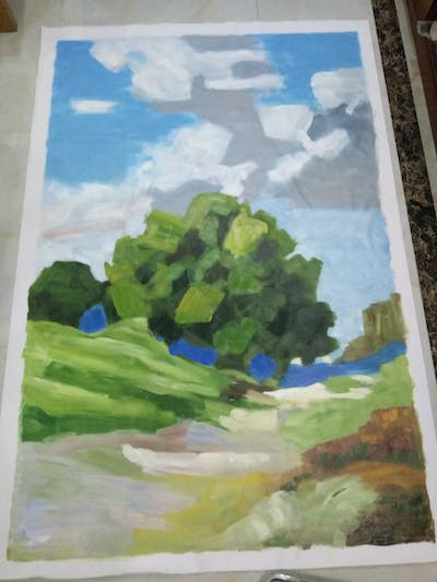 A painting of painting, sky, water, watercolor paint, art, tree, impressionist, paint, landscape, acrylic paint