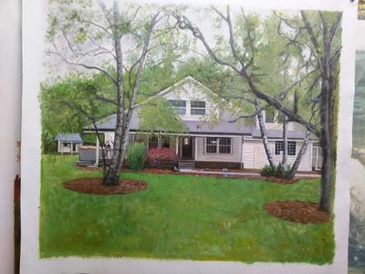 A painting of home, property, house, yard, real estate, cottage, estate, tree, farmhouse, residential area