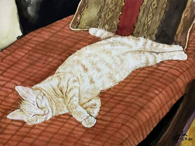 A painting of cat, small to medium sized cats, cat like mammal, whiskers, domestic short haired cat, european shorthair, carnivoran, kitten, tabby cat, tail