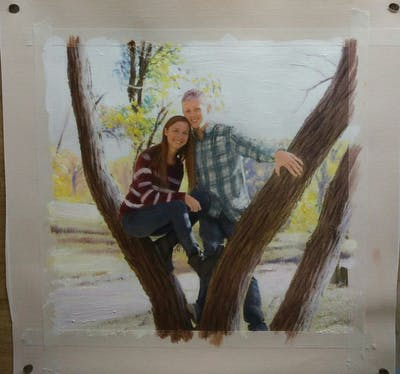 A painting of tree, plant, fun, grass, recreation, branch, wood, girl