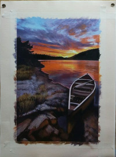 A painting of nature, reflection, water, sky, sunset, dawn, sunrise, loch, shore, river