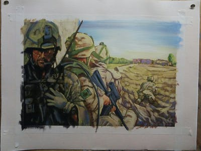 A painting of army, soldier, military, troop, infantry, military organization, reconnaissance, militia, mercenary, marines