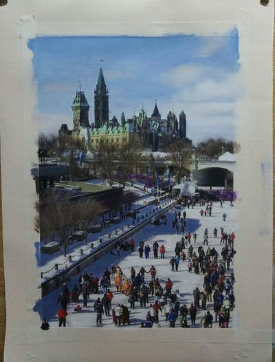 A painting of waterway, winter, city, urban area, tourist attraction, plaza, recreation, town square, snow, tourism