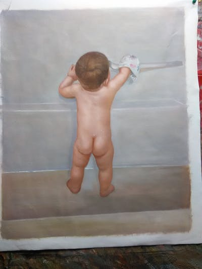 A painting of child, standing, joint, shoulder, infant, arm, hand, finger, leg, bathing