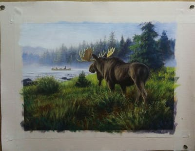 A painting of wildlife, fauna, wilderness, nature reserve, moose, national park, tundra, deer, antler, painting