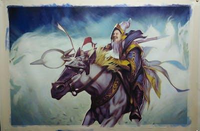 A painting of art, mythical creature, mythology, computer wallpaper, cg artwork, fictional character, illustration, horse like mammal, graphics, demon