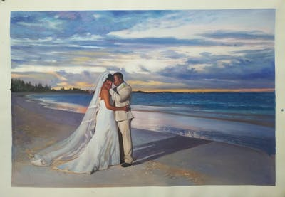 A painting of sea, photograph, sky, body of water, cloud, bride, dress, beach, ocean, wedding