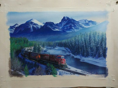 A painting of transport, nature, mountain range, mountain, track, mountainous landforms, wilderness, alps, winter, sky