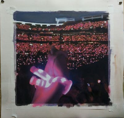 A painting of entertainment, pink, structure, crowd, night, light, performance, concert, stage, lighting