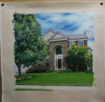 A painting of home, house, property, estate, landmark, mansion, real estate, neighbourhood, residential area, architecture