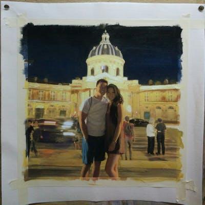 A painting of night, landmark, light, city, sky, tourism, evening, fun, tourist attraction, lighting