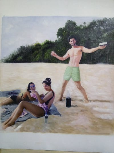 A painting of beach, photograph, vacation, body of water, fun, sand, summer, sea, water, leisure