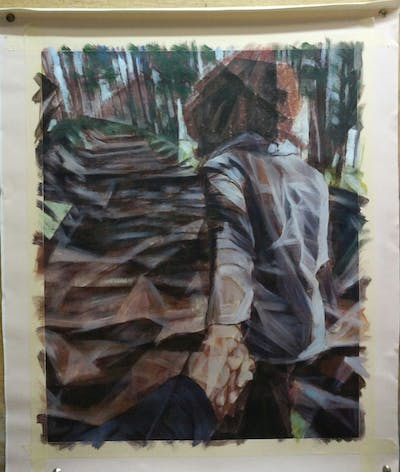 A painting of clothing, tree, woody plant, jeans, plant, girl, grass, path, standing, human body
