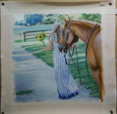 A painting of horse, rein, bridle, horse like mammal, horse tack, horse supplies, mane, stallion, tree, mare