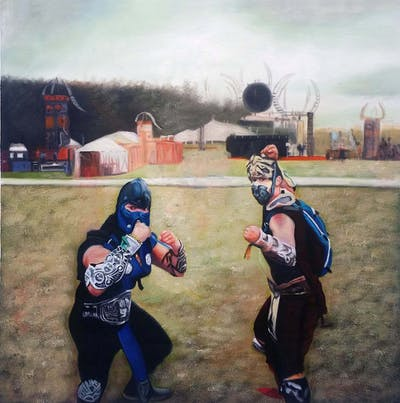 A painting of fun, photography, race, interaction, recreation, competition event