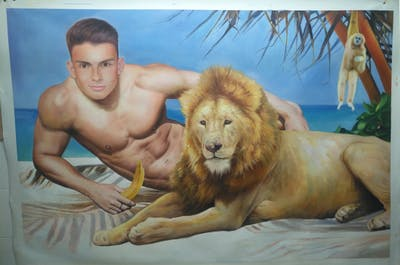 A painting of mammal, lion, wildlife, big cats, cat like mammal, carnivoran, fur