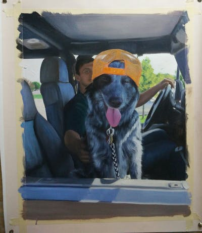 A painting of car, dog, mammal, vehicle, dog like mammal, automotive exterior, snout