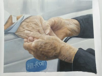 A painting of hand, finger, arm, ear
