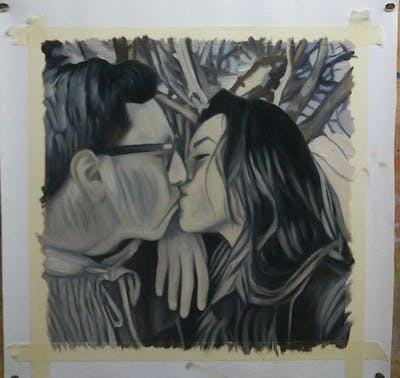 A painting of emotion, girl, kiss, interaction, love, black hair, tree, glasses, fun, smile