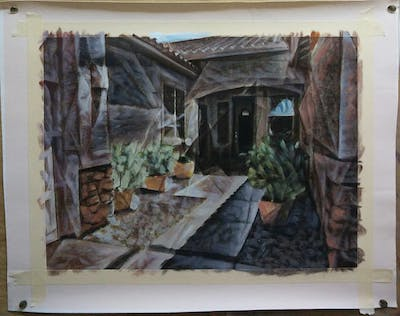 A painting of property, home, real estate, house, estate, courtyard, walkway, window, facade, yard