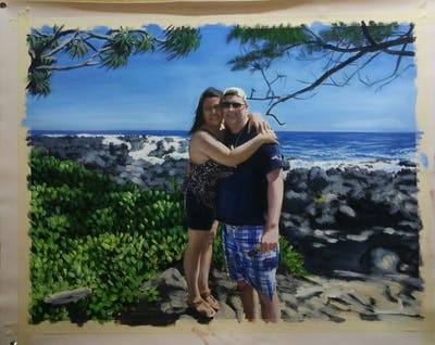 A painting of vacation, tree, beach, plant, fun, tourism, sea, sky, interaction, girl