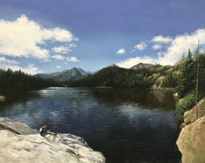 A painting of reflection, nature, lake, wilderness, water, sky, tarn, nature reserve, mountain, mount scenery