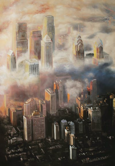 A painting of cityscape, metropolis, skyscraper, city, landmark, skyline, sky, urban area, metropolitan area, atmosphere