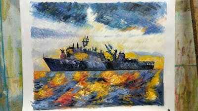 A painting of destroyer, warship, guided missile destroyer, naval ship, ship, navy, dock landing ship, meko, fast combat support ship, cruiser