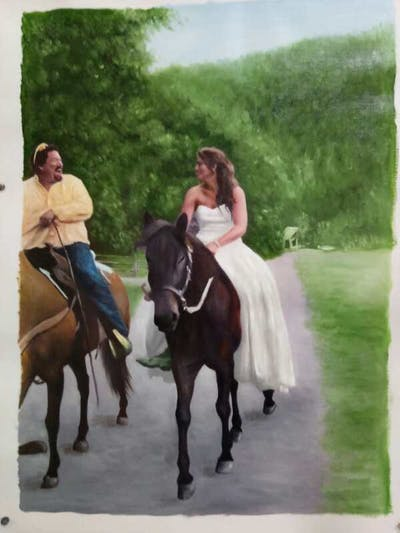 A painting of horse, equestrianism, bridle, horse like mammal, trail riding, rein, stallion, tree, horse tack, mare