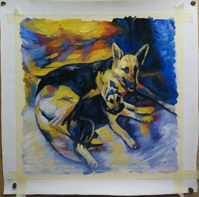 A painting of dog breed, dog, dog like mammal, dog breed group, german shepherd dog, snout, dog crossbreeds, carnivoran, sporting group